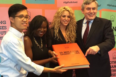 Shakira delivers #UpForSchool's 10 million signatures to UN education envoy