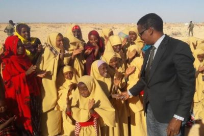 """""""200 displaced boys and girls have been given uniforms, books and pens after registering at the new school"""""""
