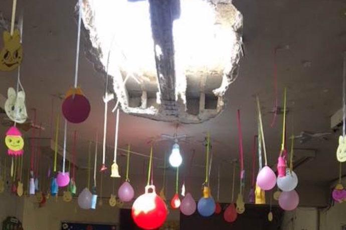 Children's terror as Aleppo kindergarten is rocked by shelling