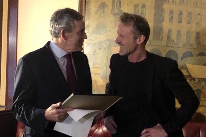 Gordon Brown wins Jo Nesbø award and gives prize money to Theirworld