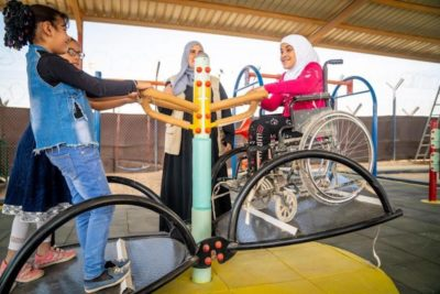 Inclusive playground lets all children have fun together at refugee camp
