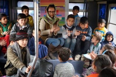 Colourful mobile library helps out-of-school children in Kabul