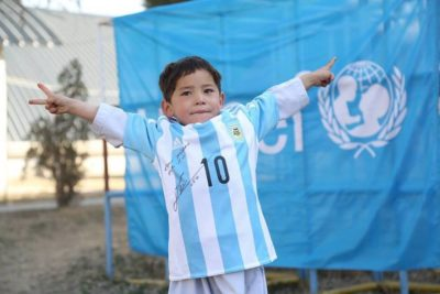 I want to go to school says 'Messi boy' forced to flee Afghan home