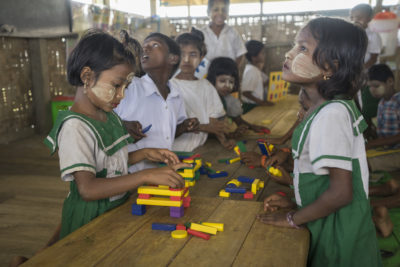 Stranded Rohingya children living in squalid camps with little or no schooling