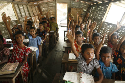 Floating schools mean classes continue during floods in Bangladesh
