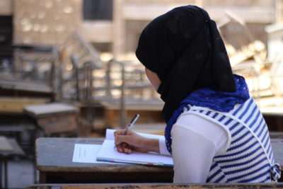 Courage of children who ignore conflict and threats to take their school exams