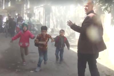 Terrified children run from Syrian kindergarten after bombing