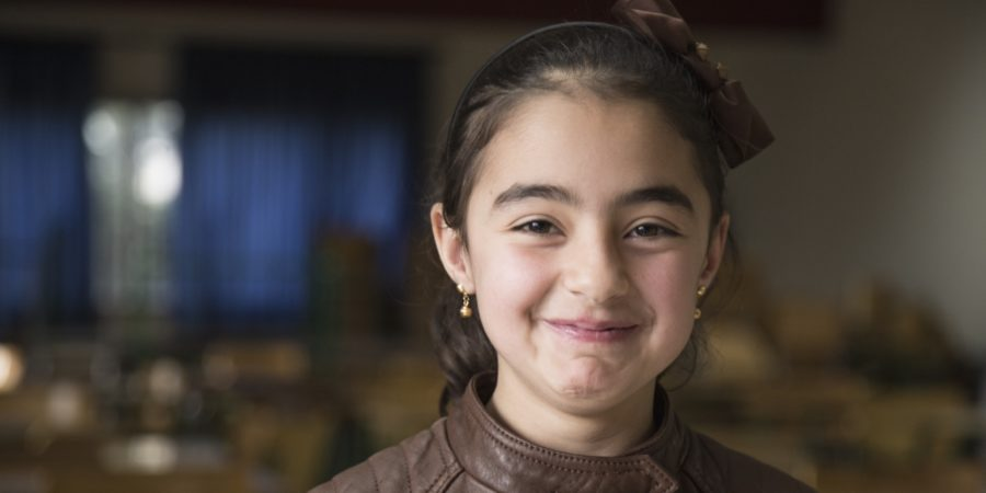 Shahed, 9, a Syrian refugee now in school - unlike 800,000 others lik her